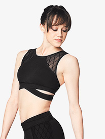Womens Diamond Mesh Tank Dance Bra Top