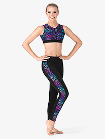 Adult Rainbow Zebra Printed Side Stripe Ankle Leggings
