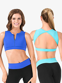 Adult Zip Front Triangle Back Tank Crop Top
