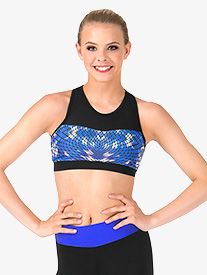 Girls Mesh Sweetheart Blue Geometric Printed Tank Crop Top