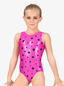 Child Flocked Star Metallic Tank Leotard