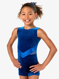 Child and Toddler Velvet Tank Gymnastics Shorty Unitard