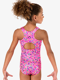 Girls Foil Heart Tank Leotard
