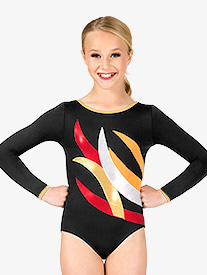 Womens Gymnastics Contrast Spliced Long Sleeve Leotard