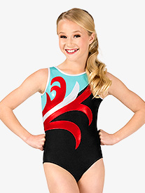 Girls Gymnastics Spliced Pattern Tank Leotard