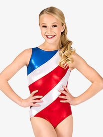 Girls Gymnastics Diagonal Patriotic Print Tank Leotard