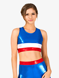 Womens Gymnastics Patriotic Print Tank Bra Top