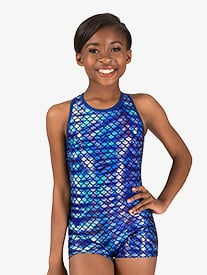 Girls Gymnastics Fish Scale Print Tank Shorty Unitard