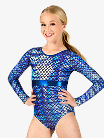 Girls Gymnastics Fish Scale Print Long Sleeve Leotard
