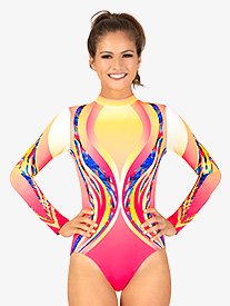 Womens Swirl Sublimated Print Print Long Sleeve Gymnastics Leotard