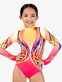 Girls Swirl Sublimated Print Print Long Sleeve Gymnastics Leotard