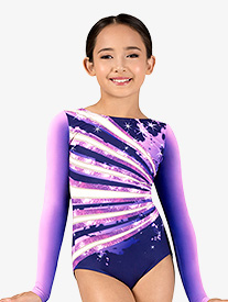 Girls Ombre Sparkle Sublimated Print Long Sleeve Gymnastics Leotard
