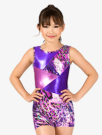 Girls Gymnastics Animal Print Tank Shorty Unitard
