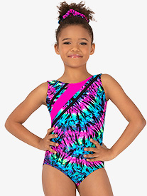 Girls Gymnastics Neon Tie-Dye Strappy Tank Leotard