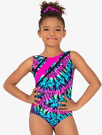 2bf6e5acb48 Girls Gymnastics Neon Tie-Dye Strappy Tank Leotard