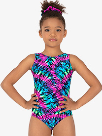 Girls Gymnastics Neon Tie-Dye Tank Leotard