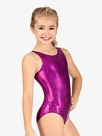 Girls Gymnastics Disco Foil Tank Leotard