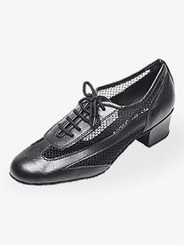 Womens 1.5 Heel Black Net Practice Ballroom Shoes