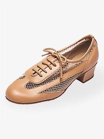 Womens 1.5 Heel Tan Net Practice Ballroom Shoes