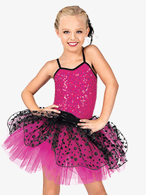 Girls Glitter Dot Camisole Costume Tutu Dress