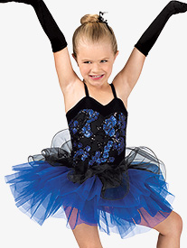 Girls Floral Sequin Camisole Costume Tutu Dress