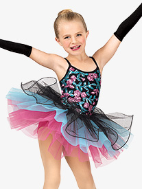 Girls Flower Sequin Camisole Costume Tutu Dress