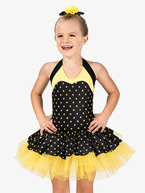 Girls Polka Dot Halter Costume Tutu Dress