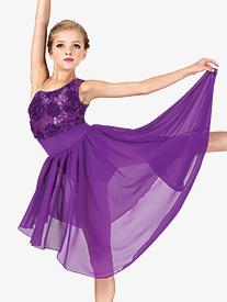 Girls Asymmetrical Floral Performance Lyrical Dress