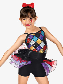 Girls Harlequin Sequin Camisole Costume Shorty Unitard