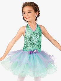 Girls Scribble Sequin Halter Costume Tutu Dress