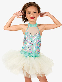 Girls Pastel Sequin Mock Neck Costume Tutu Dress