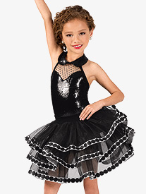 Girls Polka Dot Collared Halter Costume Tutu Dress