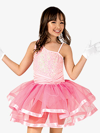 Girls Asymmetrical Cinched Costume Tutu Dress