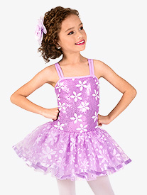 Girls Flower Print Sequin Costume Tutu Dress