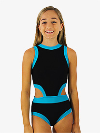 Girls Black and Blue Side Cutout Tank Leotard