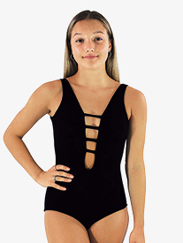 Womens Black Strappy Front Tank Leotard
