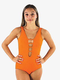 Girls Mandarin Orange Strappy Front Tank Leotard