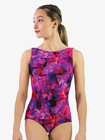 Womens Blossom Print Boat Neck Tank Leotard