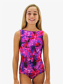 Girls Print Boat Neck Tank Leotard