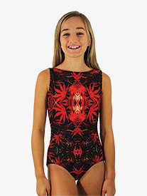 Girls Mystic Garden Print Boat Neck Tank Leotard