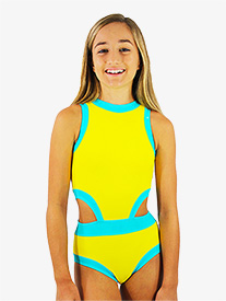 Girls Yellow and Blue Side Cutout Tank Leotard