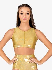 Womens Iridescent Performance Zip Front Crop Top