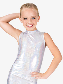 Girls Iridescent Mock Neck Performance Tank Top