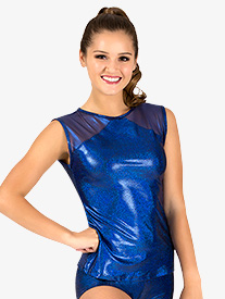 Womens Iridescent Performance Mesh Cap Sleeve Top