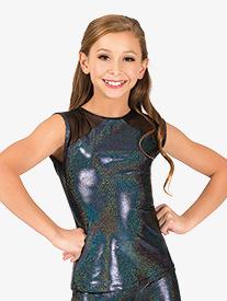 Girls Iridescent Performance Mesh Cap Sleeve Top