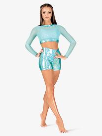 Womens Iridescent Performance High Waist Shorts