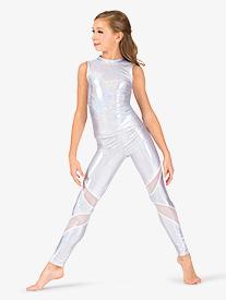 Girls Iridescent Mesh Insert Performance Leggings