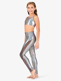 Girls Iridescent Side Mesh Performance Leggings