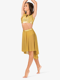 Womens Iridescent Mesh Performance High-Low Skirt