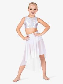 Girls Iridescent Mesh Performance High-Low Skirt